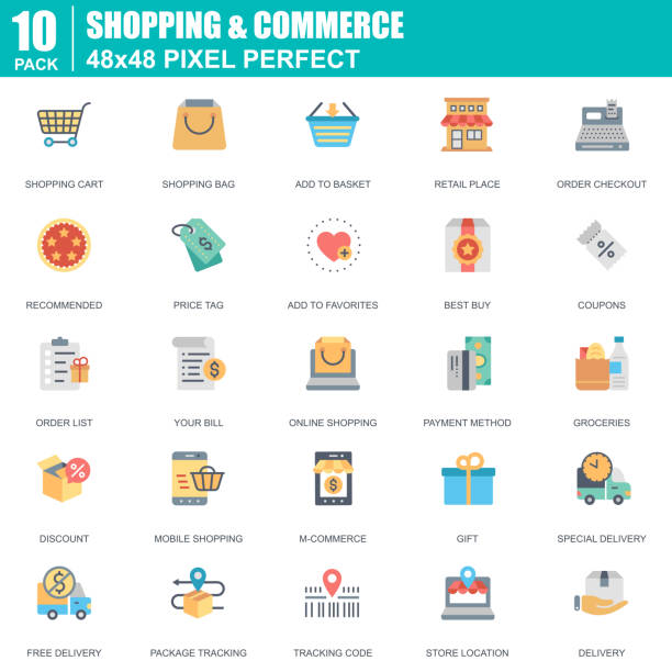 flat online shopping and e-commerce icons set for website - pricing infographics stock illustrations, clip art, cartoons, & icons