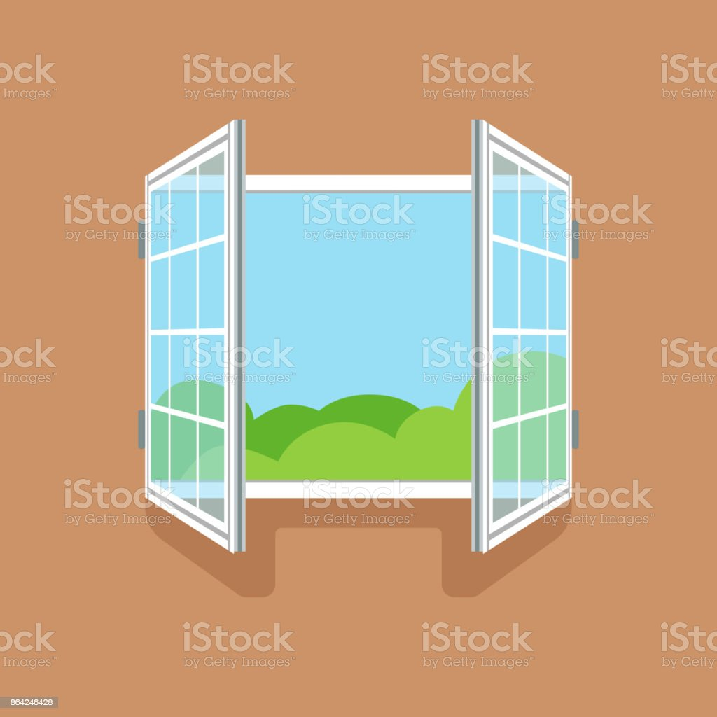 Flat open window on brown wall royalty-free flat open window on brown wall stock vector art & more images of art