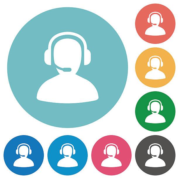 illustrations, cliparts, dessins animés et icônes de opérateur icônes plat - centre d'appels