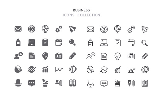 Flat & Outline Business Icons