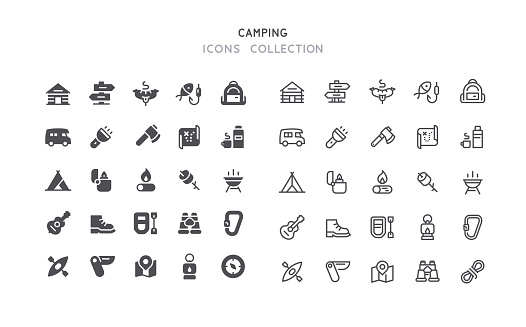 Flat & Outline Camping Icons