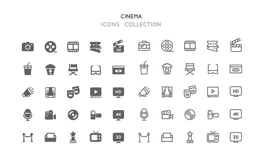 Flat & Outline Cinema Icons