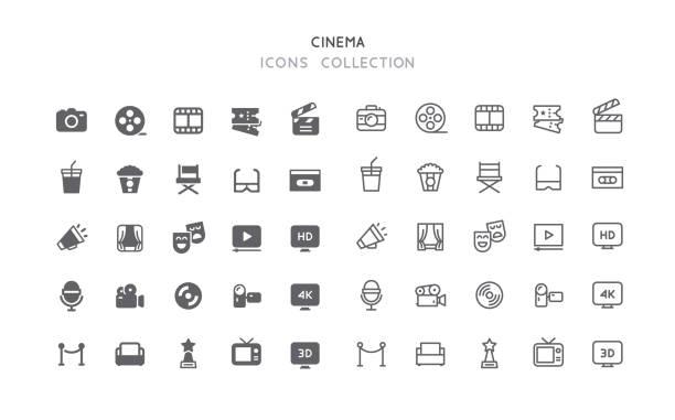 ilustrações, clipart, desenhos animados e ícones de ícones de cinema flat & outline - cinema
