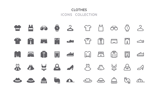 Flat & Outline Clothes Icons