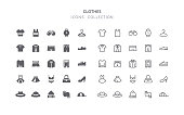 Set of clothes vector icons. Editable stroke & flat design.