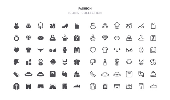 Flat & Outline Clothing Accessories Fashion Icons