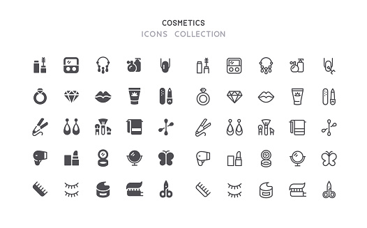 Flat & Outline Cosmetics Beauty Icons