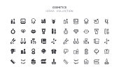 Set of cosmetics and beauty vector icons. Flat design & outline editable stroke. Perfect pixel line.