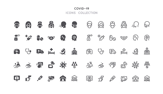 Flat & Outline Covid-19 Coronavirus Viral Prevention Icons
