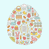 Flat outline easter and spring icons within an easter egg shape. design elements for greeting cards, banners, flyers, etc.