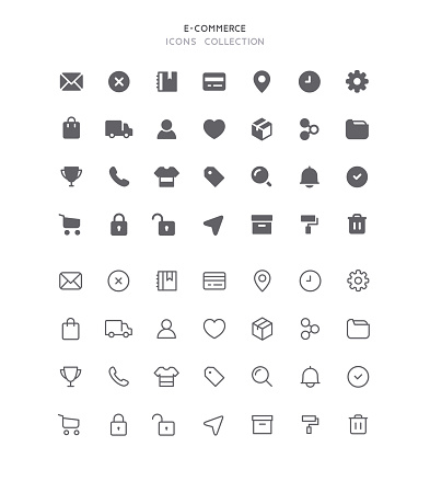 Set of e-commerce user interface vector icons. Editable stroke & flat design.