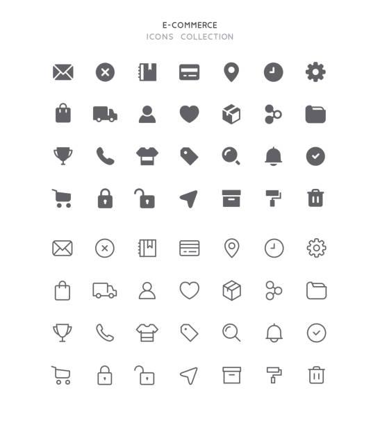 Flat & Outline E-Commerce User Interface Icons Set of e-commerce user interface vector icons. Editable stroke & flat design. e commerce stock illustrations