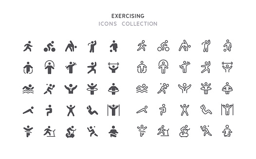 Flat & Outline Fitness Sport Exercising Icons