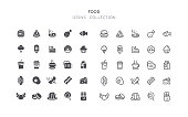 Set of food vector icons. Flat design & outline editable stroke. Perfect pixel line.