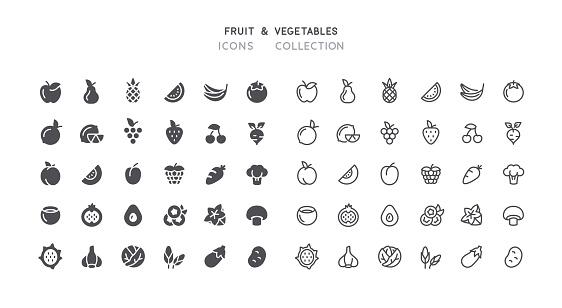 Flat & Outline Fruit Vegetables Icons