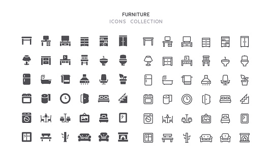 Flat & Outline Furniture Icons