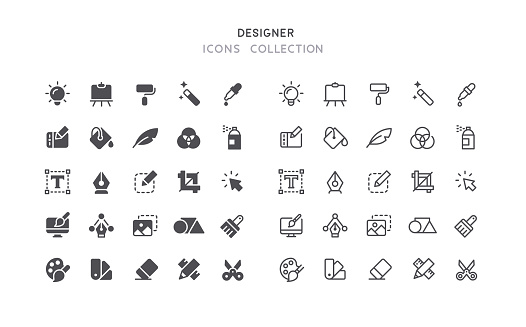 Flat & Outline Graphic Designer Icons
