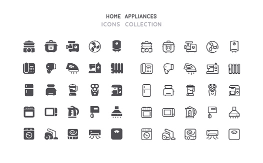 Flat & Outline Home Appliances Icons