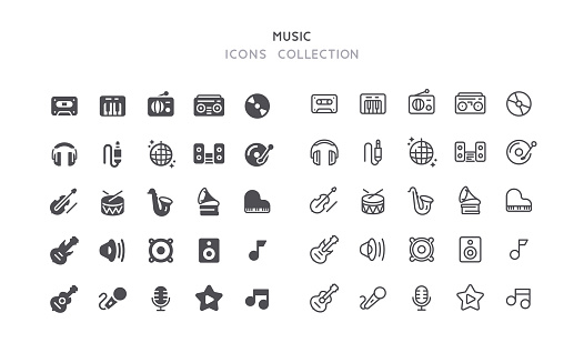 Flat & Outline Music Icons