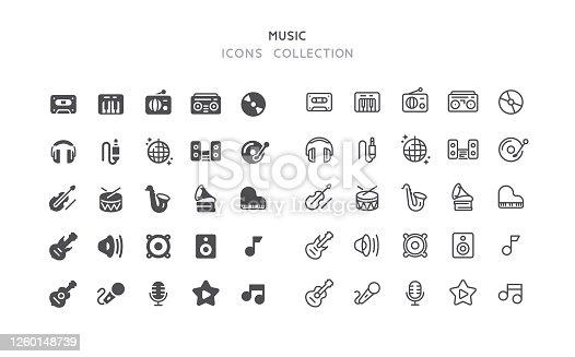 Set of music vector icons. Flat design & outline editable stroke.