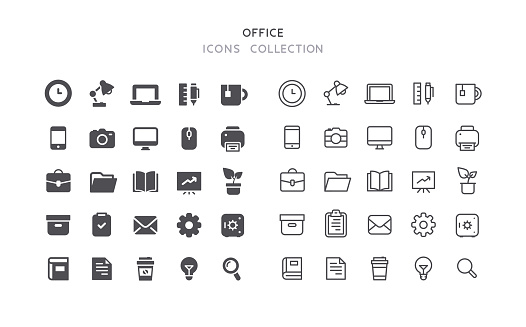 Flat & Outline Office Icons