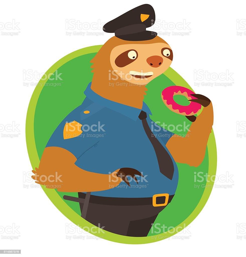 Flat oval green frame cute sloth police officer stock vector art flat oval green frame cute sloth police officer royalty free flat oval green jeuxipadfo Choice Image