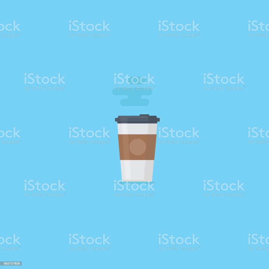 Flat paper coffee, paper kraft cup, hot coffee vector art illustration