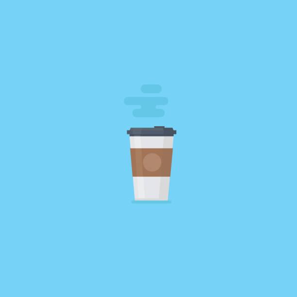 ilustrações de stock, clip art, desenhos animados e ícones de flat paper coffee, paper kraft cup, hot coffee - coffe shop
