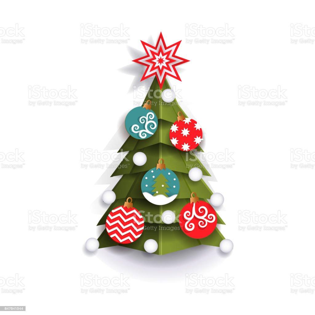 Flat paper cut Christmas tree decoration element vector art illustration