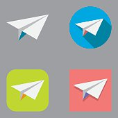 Flat paper plane icon set over different background shapes and colors.