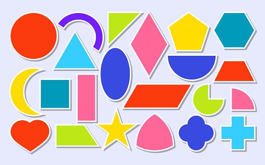 Flat paper sticker geometric shape icon set vector