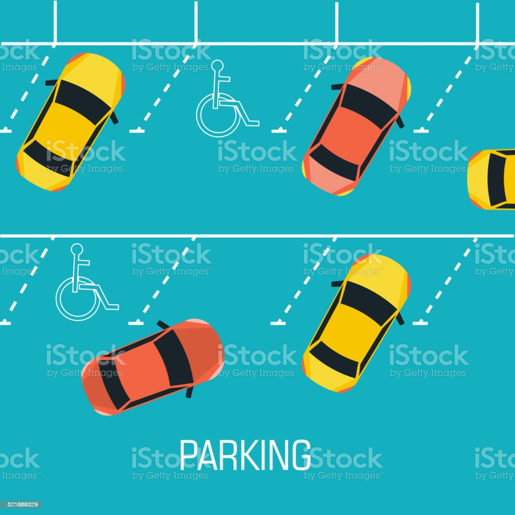 Flat parking a car background concept. Vector illustration design vector art illustration