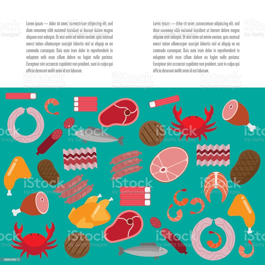 Flat pattern with meat and fish vector art illustration