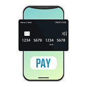 istock Flat pay credit card smartphone for concept design. Phone icon vector. Internet technology. Abstract vector mockup. Flat design. 1292615081