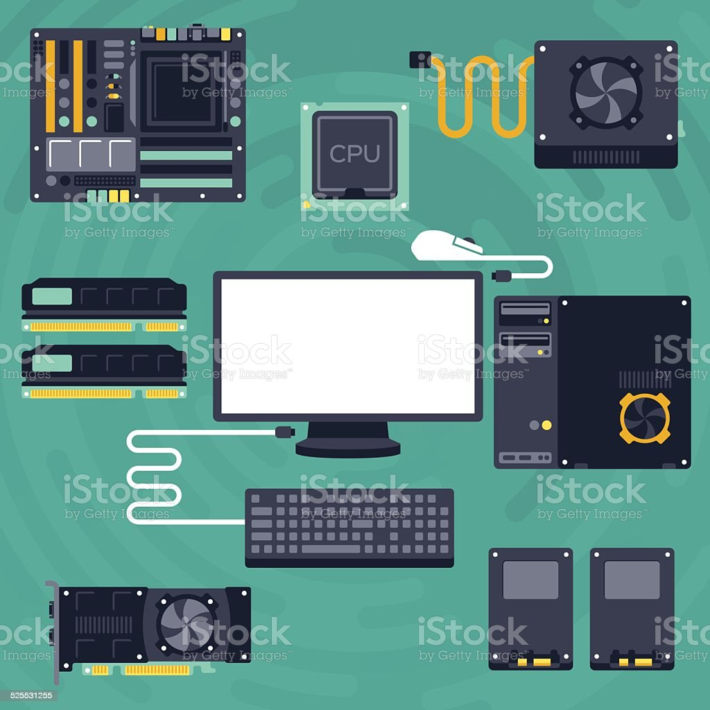 Flat PC Components and Computing vector art illustration