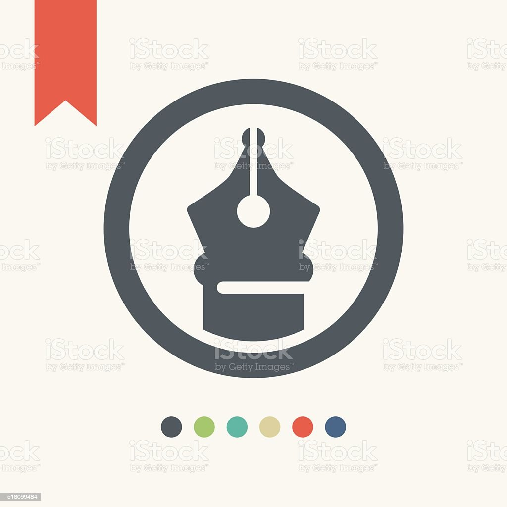 flat pen icon vector art illustration
