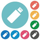Flat pendrive icons