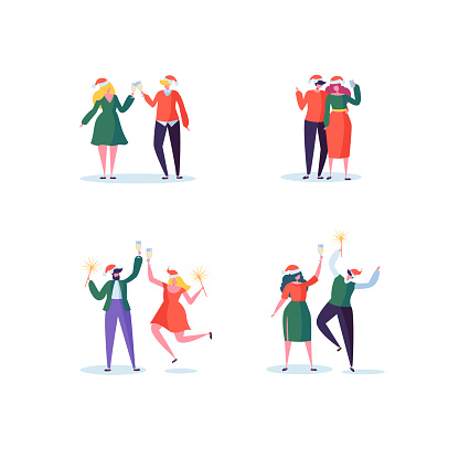 Flat People Celebrating New Year Party with Champagne Glasses. Joyful Characters in Santa Claus Hats on Christmas. Vector illustration