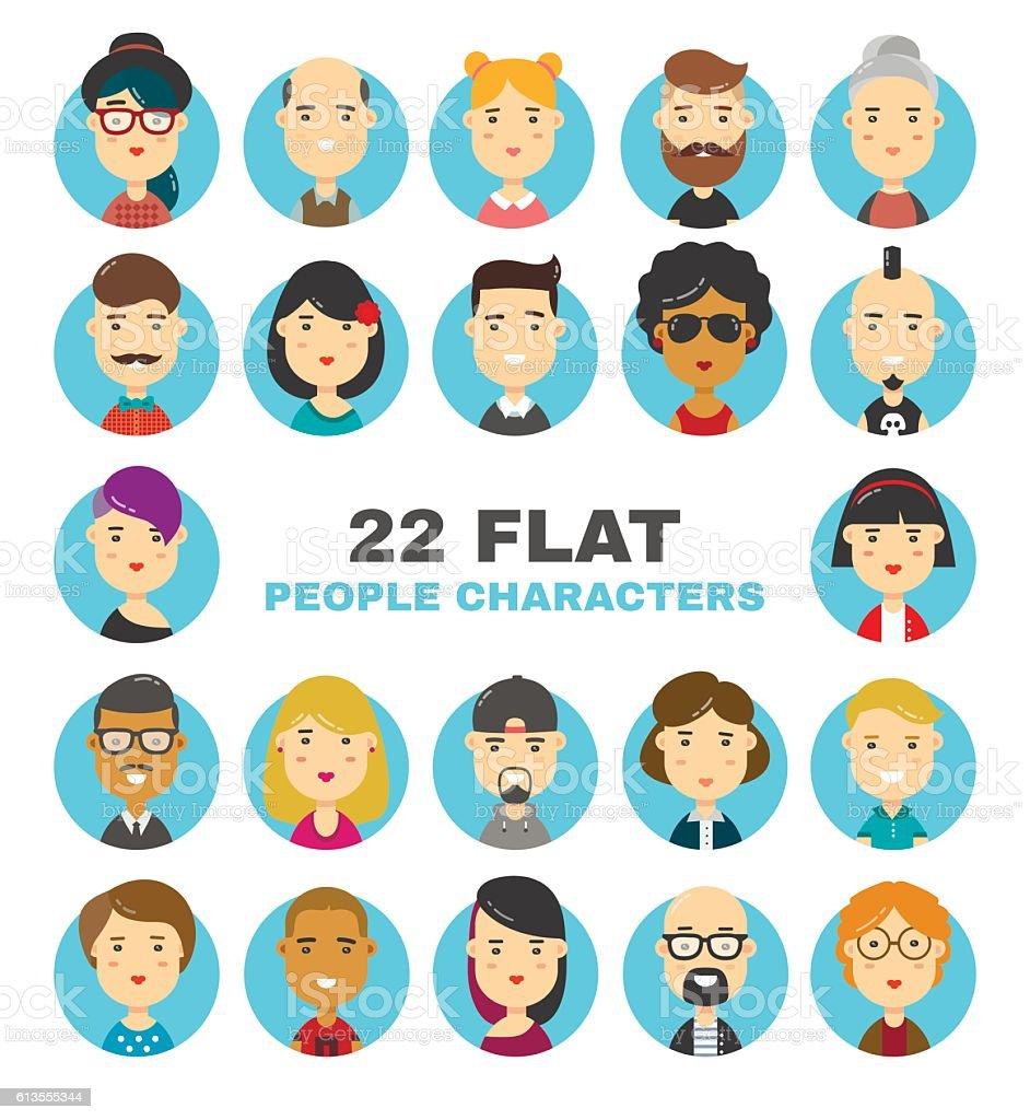 flat people characters avatars icons set ベクターアートイラスト