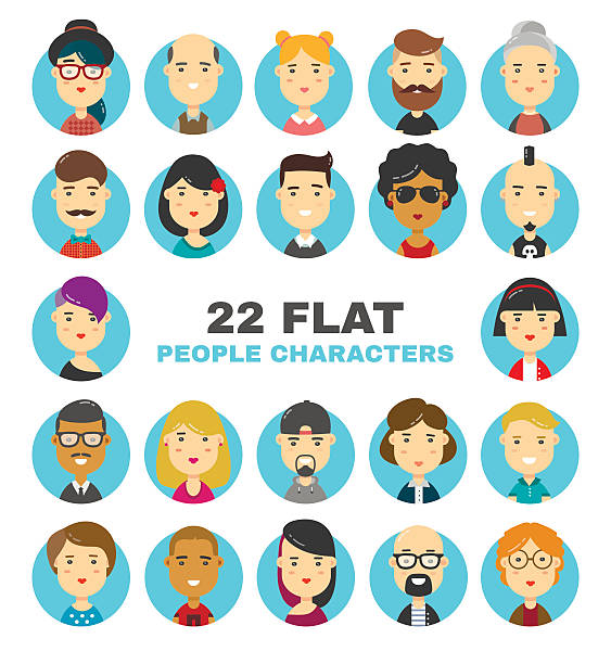 flat people characters avatars icons set - business casual fashion stock illustrations