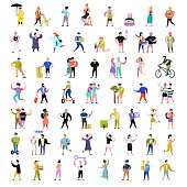 Flat People Characters Collection. Man and Woman Cartoons in Various Actions, Poses and Activities. Students, Gardener, Technology. Vector illustration