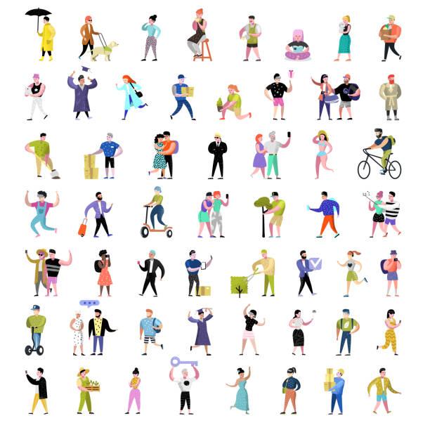 Collection de personnes plat de caractères. Homme et femme caricatures dans diverses Poses, activités et Actions. Étudiants, jardinier, technologie. Illustration vectorielle - Illustration vectorielle