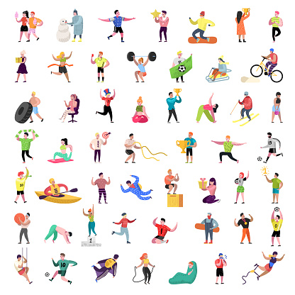 Flat People Characters Collection. Man and Woman Cartoons in Various Actions, Poses and Activities. Sport, Active People. Vector illustration