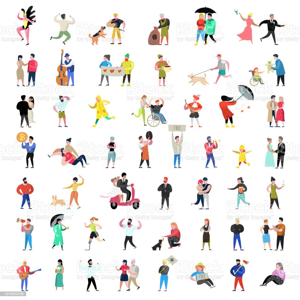 Flat People Characters Collection. Man and Woman Cartoons in Various Actions, Poses and Activities. Couples, Family and Musicians. Vector illustration vector art illustration