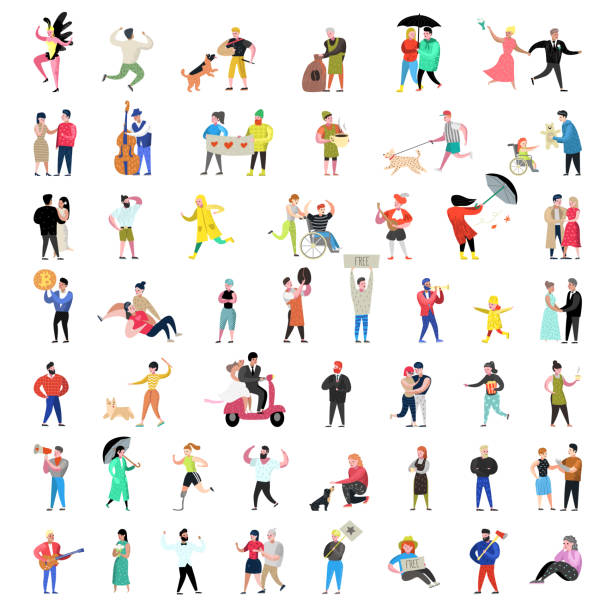flat people characters collection. man and woman cartoons in various actions, poses and activities. couples, family and musicians. vector illustration - wheelchair sports stock illustrations, clip art, cartoons, & icons