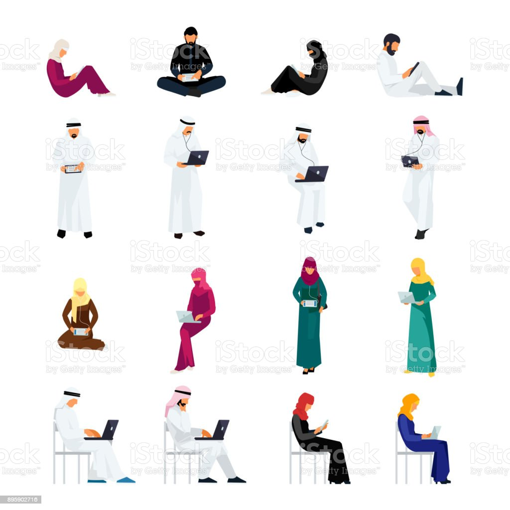 Flat people in traditional Arabian clothes. vector art illustration