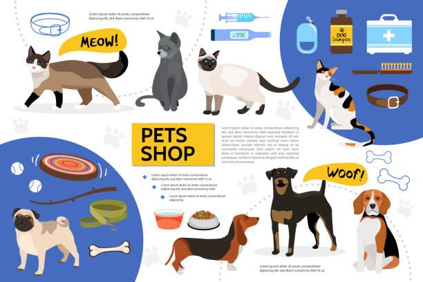 ilustrações de stock, clip art, desenhos animados e ícones de flat pet shop infographic template - lata comida gato