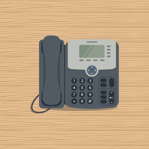 Flat phone icon on a wooden background vector art illustration