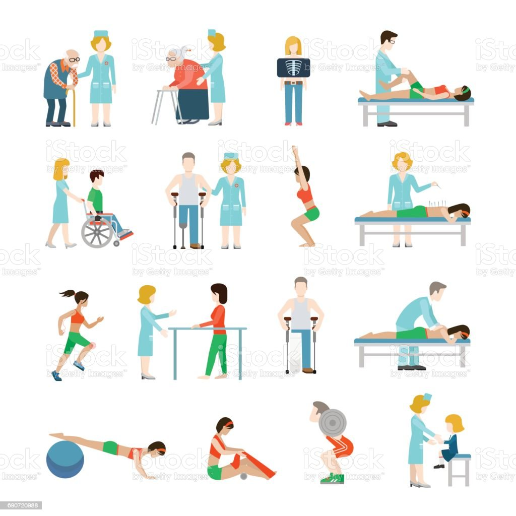 Flat physiotherapy vector illustration set. Health care, professional rehabilitation concept. Doctor, nurse, masseur, patient, male on wheelchair, female running, oldie with cane. vector art illustration
