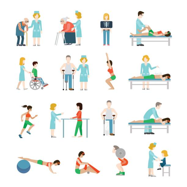 Flat physiotherapy vector illustration set. Health care, professional rehabilitation concept. Doctor, nurse, masseur, patient, male on wheelchair, female running, oldie with cane. Flat physiotherapy vector illustration set. Health care, professional rehabilitation concept. Doctor, nurse, masseur, patient, male on wheelchair, female running, oldie with cane. physical therapy stock illustrations